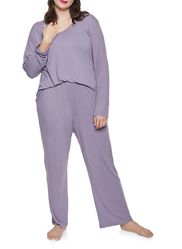 Plus Size Soft Knit Pajama Top and Bottom Set,LAVENDER,large