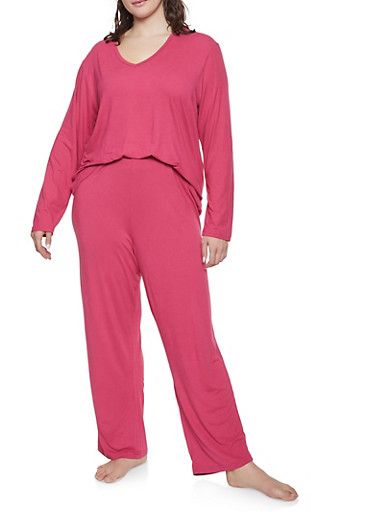 Plus Size Soft Knit Pajama Top and Bottom Set,ROSE,large