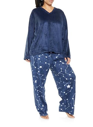 Plus Size Fleece Pajama Top and Bottom Set,BLUE,large