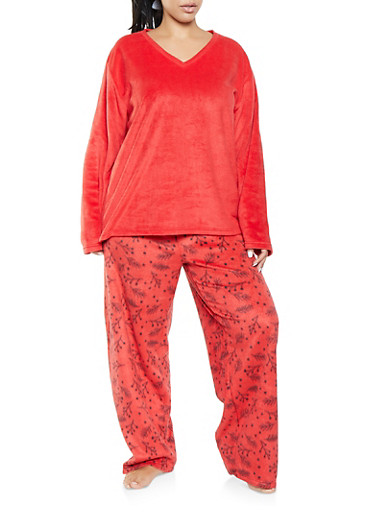 Plus Size Fleece Pajama Top and Bottom Set,RED,large