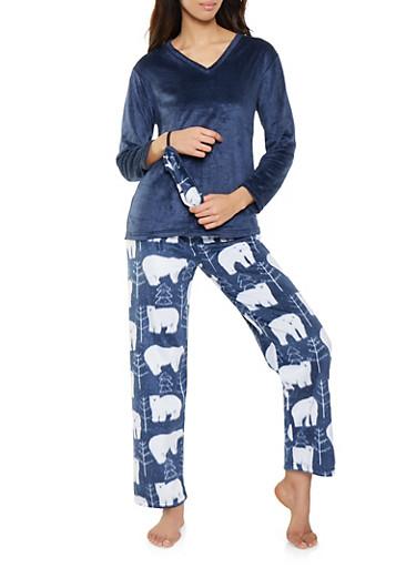 Fleece Pajama Top and Polar Bear Print Bottom Set,BLUE,large