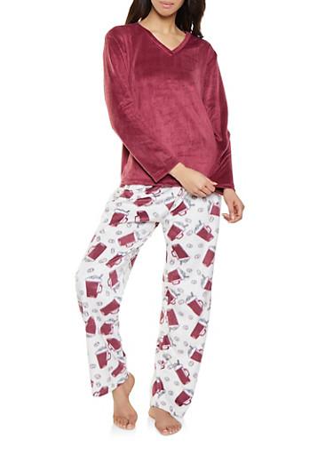 Fleece Pajama Top and Coffee Mug Print Bottom Set,WINE,large