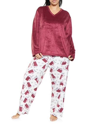 Plus Size Fleece Pajama Top and Bottom Set,WINE,large