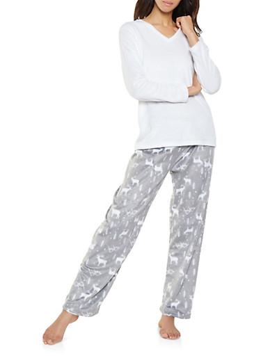 Fleece Pajama Top and Reindeer Print Bottom Set,CHARCOAL,large