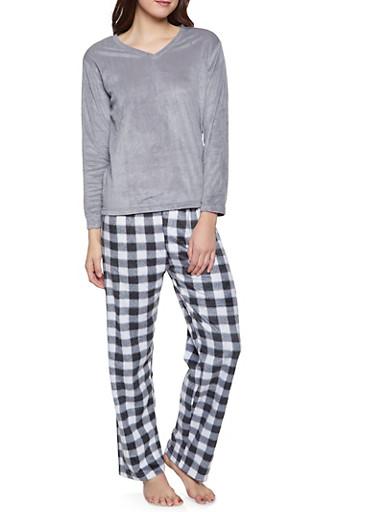 Fleece Pajama Top and Bottom Set,GRAY,large