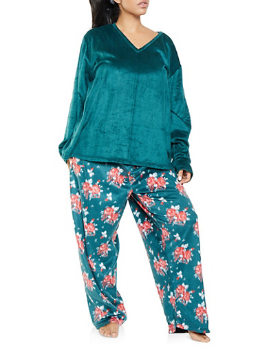 Plus Size Fleece Pajama Top and Bottom Set,GREEN,large