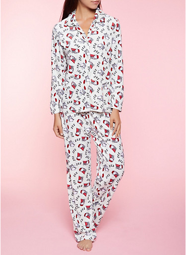Sleepy Owl Pajama Top and Pants Set,IVORY,large