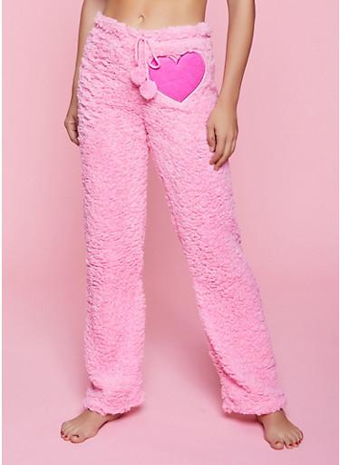 Heart Patch Sherpa Pajama Pants,PINK,large