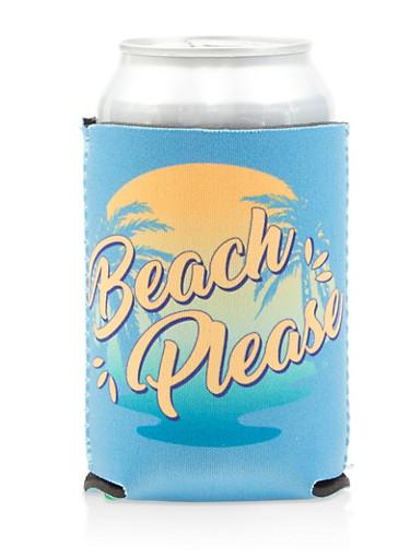 Beach Please Drink Koozie,BLUE,large