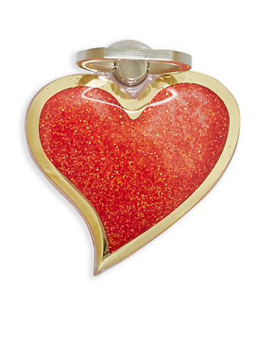 Glitter Heart Phone Ring Stand,RED,large