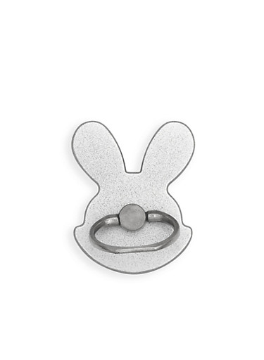 Metallic Bunny Phone Ring Stand,SILVER,large