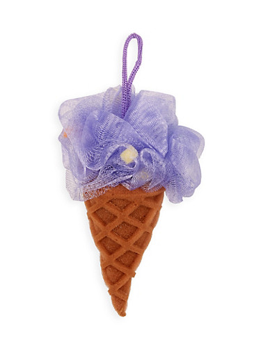 Ice Cream Cone Loofah,PURPLE,large