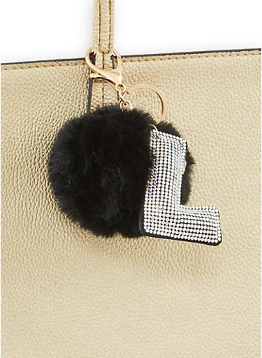 Rhinestone L Pom Pom Keychain,BLACK,large