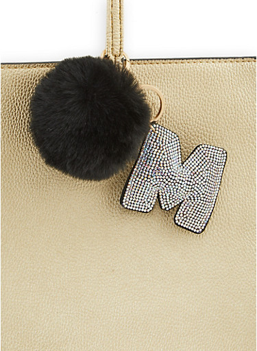 Rhinestone M Pom Pom Keychain,BLACK,large