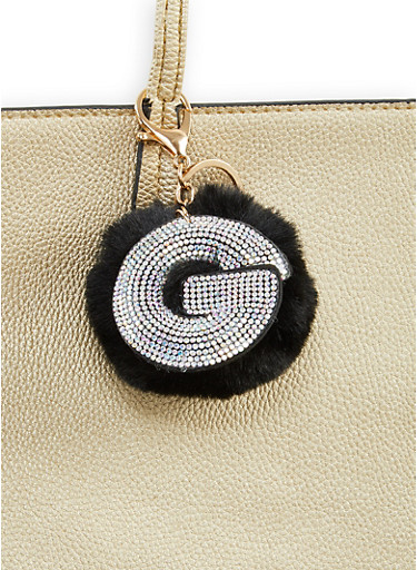 Rhinestone G Pom Pom Keychain,BLACK,large