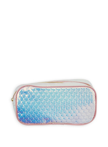 Embossed Holographic Zipper Pouch,MULTI COLOR,large