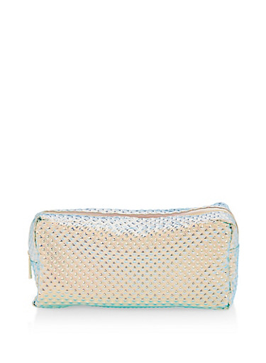 Textured Holographic Cosmetics Pouch,MULTI COLOR,large