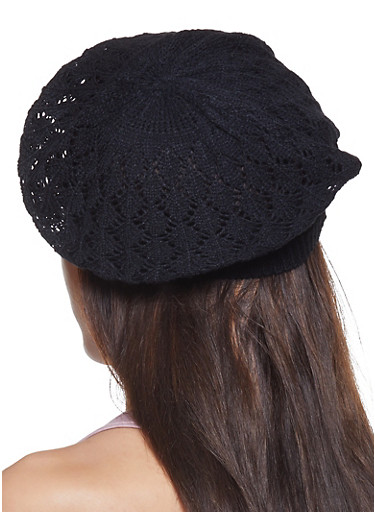 Knit Beret,BLACK,large