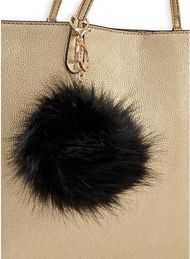 Pom Pom Keychain,BLACK,large