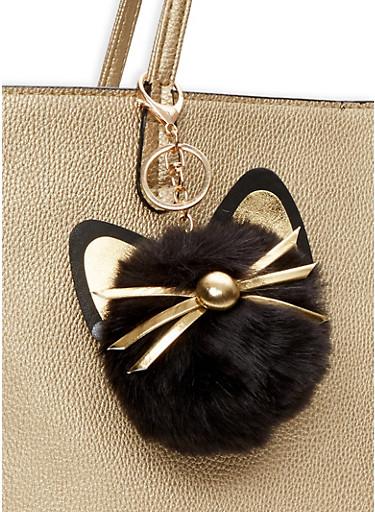 Cat Pom Pom Keychain,BLACK,large