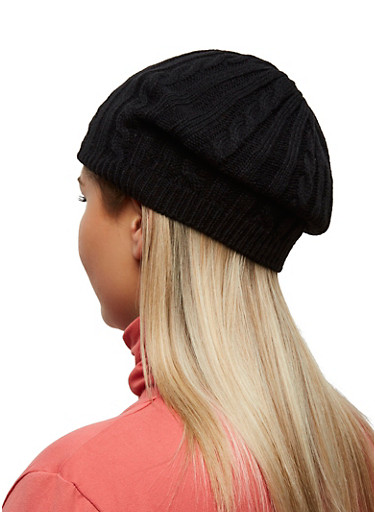 Solid Cable Knit Beanie,BLACK,large