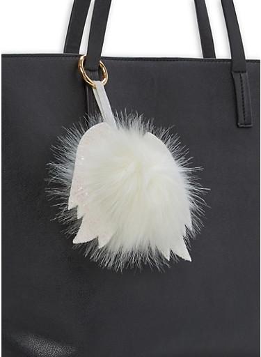 Glitter Wing Pom Pom Keychain,WHITE,large