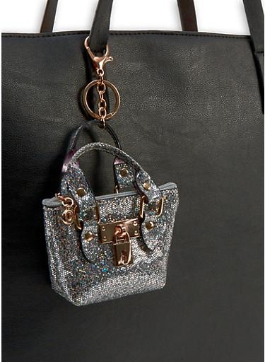 Mini Glitter Purse Keychain,SILVER,large