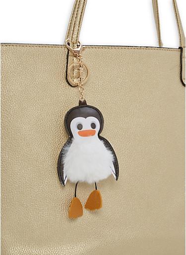 Penguin Pom Pom Keychain,WHITE,large
