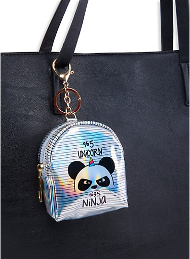 Panda Backpack Keychain,SILVER,large