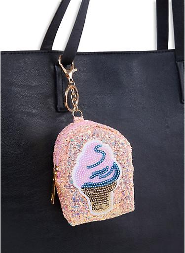 Ice Cream Glitter Backpack Keychain,ROSE,large