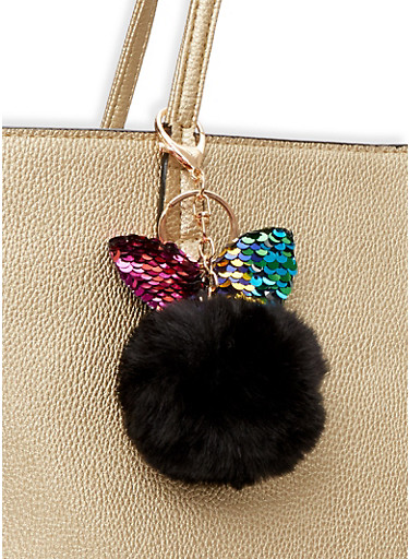 Reversible Sequin Bunny Ear Pom Pom Keychain,BLACK,large