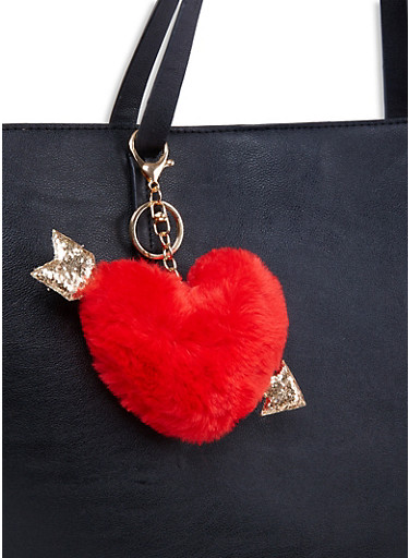Faux Fur Heart Keychain,RED,large