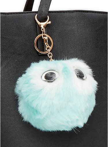 Owl Pom Pom Keychain,BLUE,large