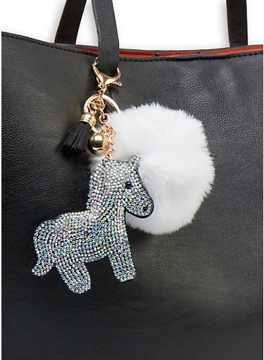 Rhinestone Unicorn Pom Pom Keychain,WHITE,large