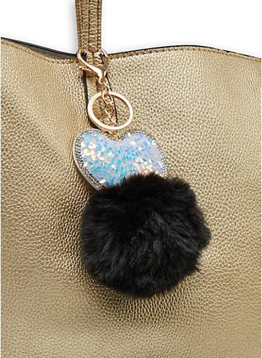 Heart Pom Pom Keychain,BLACK,large