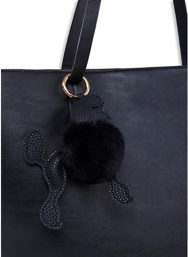 Poodle Pom Pom Keychain,BLACK,large