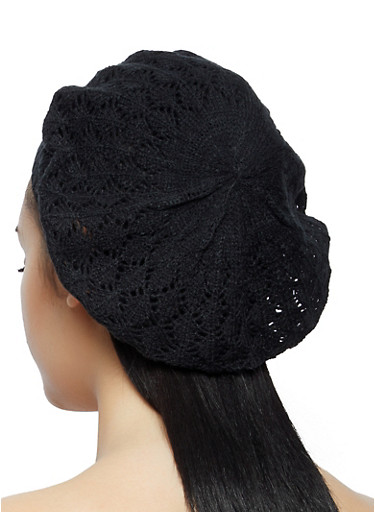 Crochet Beret | 1163067449966,BLACK,large