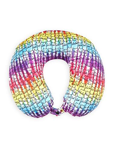 Tie Dye Cat Print Memory Foam Travel Pillow,MULTI COLOR,large