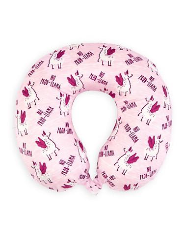 No Prob Llama Memory Foam Travel Pillow,PINK,large
