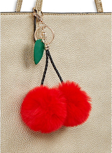 Cherry Pom Pom Keychain,RED,large