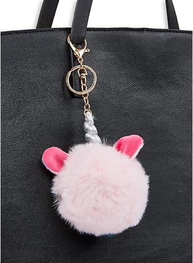 Unicorn Pom Pom Keychain,PINK,large