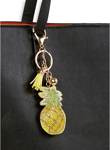 Rhinestone Pineapple Keychain,YELLOW,large