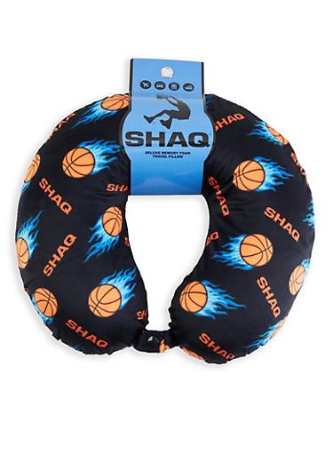 Shaq Basketball Print Memory Foam Travel Pillow,BLACK,large