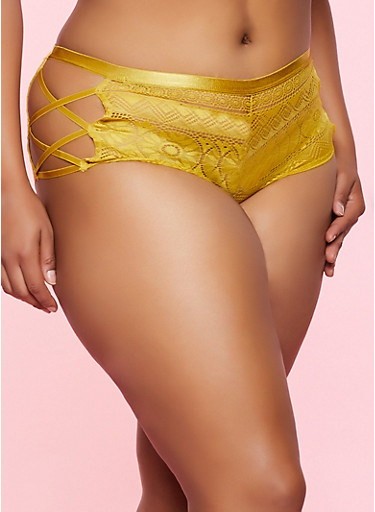 Plus Size Caged Side Cheeky Panty,MUSTARD,large