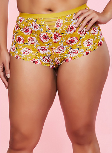 Plus Size Floral Pattern Lace Boyshort Panty,MUSTARD,large