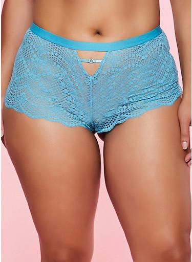 Plus Size Caged Keyhole Lace Boyshort Panty,TEAL,large