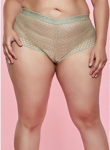 Plus Size Olive Caged Back Lace Boyshort Panty,OLIVE,large