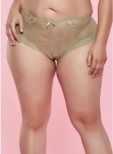Plus Size Lace Double Keyhole Cheeky Boyshort Panty,OLIVE,large