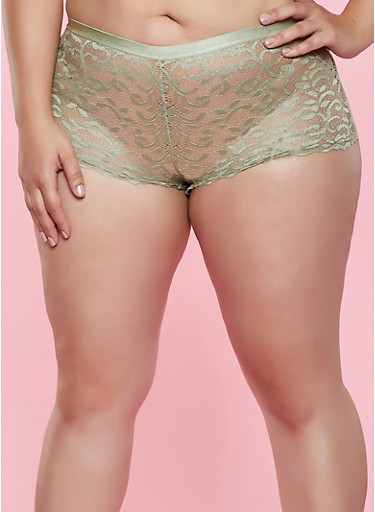 Plus Size Patterned Fishnet Boyshort Panty,OLIVE,large