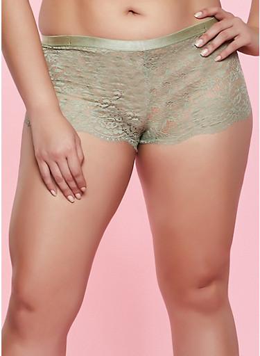 Plus Size Lace Caged Detail Boyshort Panty,OLIVE,large